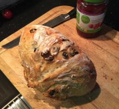 Fresh raisin bread for breakfast.