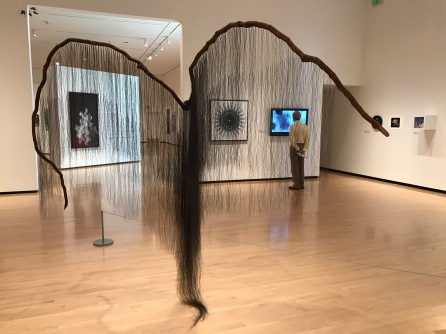 "Millicent Young's ""Predator"" placed second with her sculpture made from grapevine and horsehair."