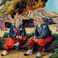 """""""Willie and George and the Briarwood pipe,"""" one of two third place paintings by Brian Sieveking."""