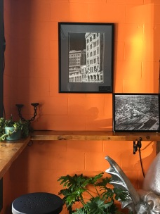 Wake-me-up orange dominates downtown cafe.